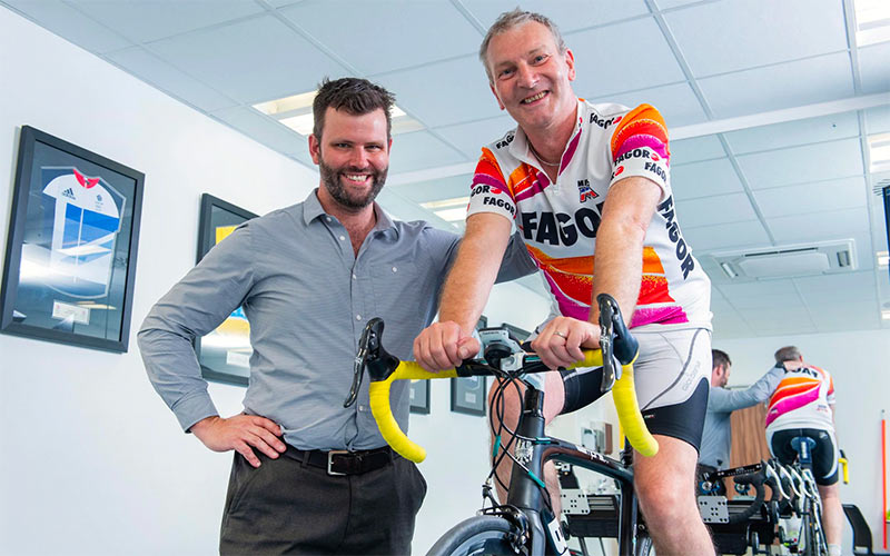 Phil Burt, who spent 12 years as British Cycling's head of physiotherapy and another five years as consultant physiotherapist to Team Sky, with the injury-riddled author CREDIT: PAUL COOPER